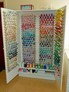Each sewing room needs a thread storage cabinet. Never lose a threatening coil . - Each sewing room needs a thread storage cabinet. Never lose a threatening coil …, # required - Sewing Room Design, Sewing Room Decor, Craft Room Design, Sewing Rooms, Sewing Studio, Craft Room Storage, Sewing Room Storage, Craft Rooms, Office Storage