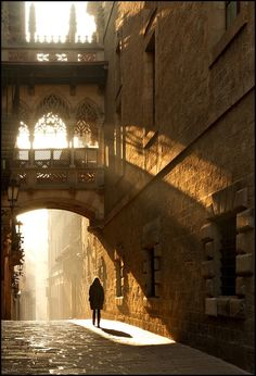 Light and Shadow, Barcelona, Spain - I have been here! It is a gorgeous medieval street in Barcelona in the old section of town.