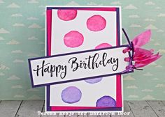 Birthday Card by Teresa Abajo using Darkroom Door Watery Washes and Brushed Sentiments Rubber Stamp Sets