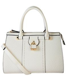 Diophy PU Leather Mini Small Studded Lock Docor Tote Womens Purse Handbag White >>> Be sure to check out this awesome product.