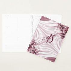 Pretty pink fractal. Silk imitation. Add monogram. Planner - girly gifts special unique gift idea custom