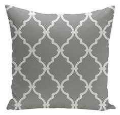 Trellis Decorative Pillow in Grey