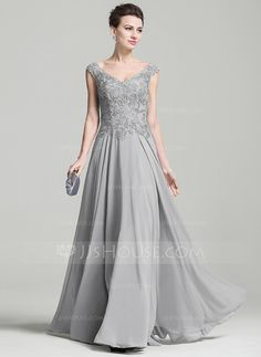 A-Line/Princess V-neck Floor-Length Chiffon Mother of the Bride Dress With Appliques Lace (008074209)