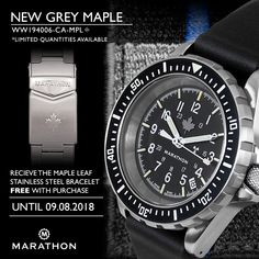 Get A Maple Leaf Stainless Steel Bracelet On Purchase of Search & Rescue Diver's Automatic (GSAR) - Grey Maple. https://marathonwatch.com/products/search-rescue-divers-automatic-gsar-grey-maple