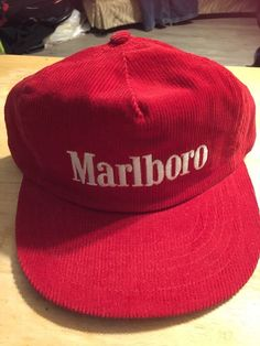 2b3186121 Vintage Marlboro Truckers Red Corduroy Cap Hat Snapback RARE Made in USA  NEW NOS  Marlboro