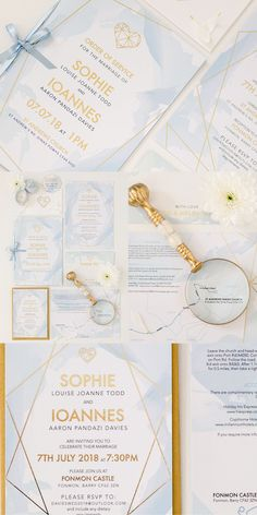 Watercolour Geometric Wedding Stationery. Featuring foiled geometric lines and soft water wash brush strokes. This is perfect for any modern wedding. Part of the 'SOPHIE' collection by Paper Date.
