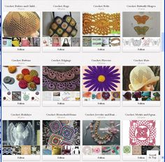 Check out HAIKU TOO -- who has pinned several boards full of wonderful and nicely-organized crochet things. Probably a few that you'll want to follow. Click for link.