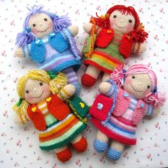 Rainbow Rascals - toy dolls - INSTANT DOWNLOAD - PDF email knitting pattern - ePattern via Etsy