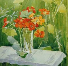 Nasturtiums - Panyusheva Nadezhda Nikolaevna,1997 Russian,b.1972- Watercolour, 35 x 35 cm.