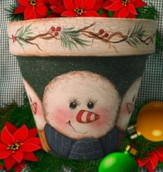 Puddles of Paint ~ View Winter/Christmas Packets Clay Flower Pots, Flower Pot Crafts, Clay Pot Crafts, Painted Clay Pots, Painted Flower Pots, Snowman Crafts, Holiday Crafts, Christmas Decorations, Christmas Ornaments