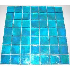 """Glass Tile Turquoise Textured Iridescent Glass Blend 2"""" x 2"""""""