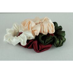 Pure Silk Hair Scrunchies Set of 4 Rose Garden Set 19mm Silk Charmeuse... ($34) ❤ liked on Polyvore featuring accessories, hair accessories, grey, ties & elastics, silk headband, elastic headbands, headband hair accessories, elasticated headband and head wrap headband