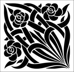 Tile No 27 stencil from The Stencil Library ART NOUVEAU range. Buy stencils online. Stencil code DE230.