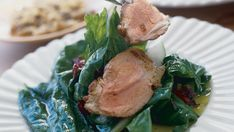 Pork Tenderloin & Spinach Salad with Shallot Dressing - Recipe - FineCooking Warm Salad, Quick Weeknight Meals, 30 Minute Meals, Spinach Salad, Dried Cranberries, Dressing Recipe, Salads, Pork, Gluten