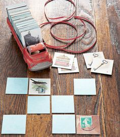 Assemble a slew of vintage images and trim. Print each photo as a set of two for the cutest, vintage memory card game.