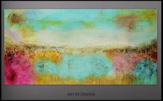 Large 40 by 20 Colourful Wall Art Painting Abstract by Itisfine, £160.00