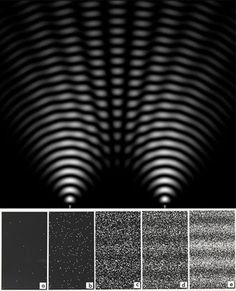 When light illuminates a pair of slits in a screen (top), the two overlapping wavefronts cooperate in some places and cancel out in between,...