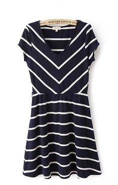 V-neck Short Sleeves Stripes Printing Color Block Dress