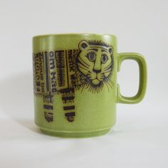 Tiger John Clappison Hornsea Mug Hornsea Pottery, Pottery Mugs, Portmeirion Pottery, Dinner Dishes, Kitchen Cupboards, Teapots, Hot Chocolate, Mid-century Modern, Kitchens