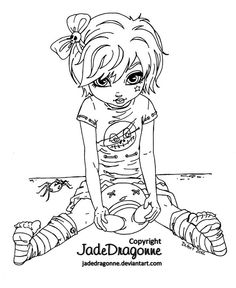 gothic doll lineart by jadedragonne