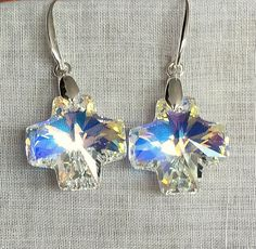Swarovski Crystal Square Cross Earrings by MAGICALUNIVERSE on Etsy