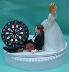 Funny bc its true.... lol. Wedding Cake Topper Darts Dartboard Dart Fan Player by WedSet. , via Etsy.