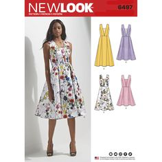 Create these figure-flattering Misses' dresses in a variation of lengths and bodices. Can be made in V-neck with lace insert, self-fabric or trim details. Add bow to back neck line or ribbon inserts for an extra look. New Look sewing pattern.