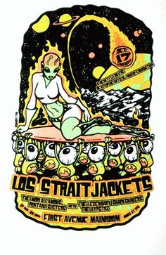 Original silkscreen concert poster for Los Straitjackets at First Avenue in Minneapolis, MN in 2003. 12.5 x 18.5 inches. Glows in the dark! Small corner bend. Art by Squad19