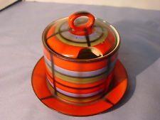 Vintage Art Deco Airbrush Erphila Highland Plaid Condiment Pot W / Pod Plate