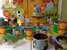 DECORACIONES INFANTILES: selva Safari Party, Jungle Party, Party Animals, Animal Party, Jungle Theme Birthday, Animal Birthday, 1st Birthday Parties, Party Themes For Boys, Clay Pot Crafts