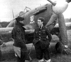 """P/O Keith T Lofts (right) flew out with No 615 Squadron RAF from RAF Croydon to Merville on 15 November 1939, returning with them from Moorsele to RAF Kenley on 21 May 1940. The 22-year-old pilot claimed 3 enemy aircraft damaged operating over France but the details were lost in the retreat, though it is known that he shared a He 111 with S/L Joseph R """"Joe"""" Kayll on 22 June, the bomber coming down west of Rouen."""