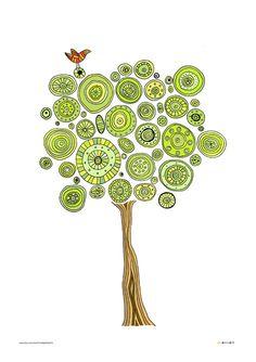 Árvore de impressão da arte, ilustração árvore verde, natureza cartaz impressão, impressão da arte do pássaro, decoração da casa