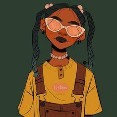 Cute Art Styles, Cartoon Art Styles, Black Girl Art, Art Girl, Character Illustration, Illustration Art, Art Sketches, Art Drawings, Arte Sketchbook