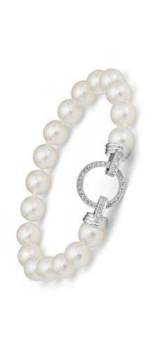 Akoya Cultured Pearl Bracelet with Diamond Clasp