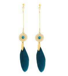 Image of Boucles d'oreilles plume bleu-canard, strass et navette dorée - THAL09