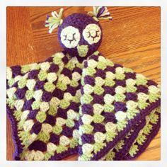 Purple, Green & Cream Crochet Owl Lovey Blanket