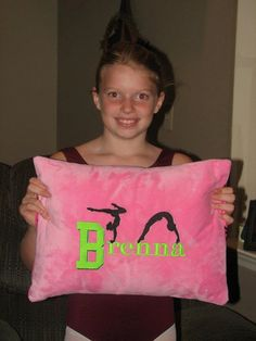Embroidered Minky Gymnast Pillow Case by BunnyInAteacup on Etsy, $17.00
