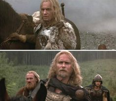 The 13th Warrior (1999) Starring: Vladimir Kulich as Buliwyf (coolest Viking EVER), Albie Woodington as Hyglak, and Dennis Storhøi as Herger.