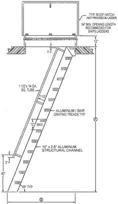 Welded Aluminum Hatch Access Flush Top Ships Ladder, Hatch Access Flush Top Ships Ladder, Structural Steel Stairways