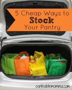 One of the ways to save money on groceries is to stock your pantry with low-priced food.  To help you save money on groceries, check out these 5 cheap ways to stock your pantry without much effort.