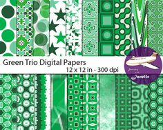These digital trio of green papers in green, sea green and forest green are 12 x 12 inch jpeg papers in 300dpi.  The zip file includes 20 different designs for scrapbooking, card making, labels, invitations, paper crafts and so much more. These papers are free to use personally and for small commercial use (up to 500 items).  Matching papers, clip art and alphabets are also available in my store.  Other colours are available in my store in the same designs  If you choose to buy multiple…
