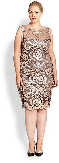 Plus Size Cocktail Dress - Tadashi Shoji, Sizes 14-24 Sequin Embroidered Lace Dress #plus #size