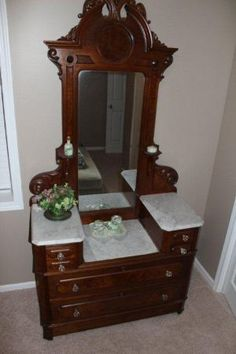 Wash Stand with Six Piece Marble Top. Antique Dressers, Wash Stand, Marble Top, Victorian Fashion, Bowls, Vanity, Bathroom, Antiques, Furniture