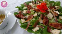 Salada de folhas e figos grelhados - LInda e saborosa - Dom Manjericão
