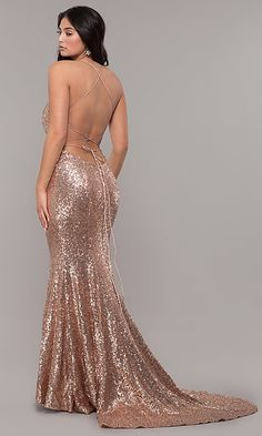 Shop backless long sequin prom dresses at PromGirl. Low-cut v-neck dresses with illusion insets, long formal sequined dresses, and sexy corset prom dresses with trains and v-necklines. Sequin Formal Dress, Formal Dresses, Dresses Dresses, Gold Dress, Neon Prom Dresses, Sparkly Dresses, Prom Gowns, Quinceanera Dresses, Ball Gowns
