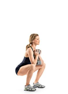 #MoveOfTheDay: Goblet Squat , works #calves, #glutes, #hamstrings, #innerthighs, and #quads | Fitbie.com