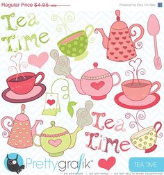 80 OFF SALE Teapot clipart commercial use by Prettygrafikdesign, $0.99
