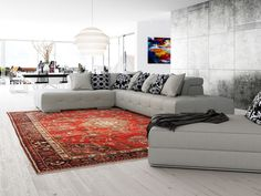 Have you seen our new arrivals? Lhasa rugs are made from premium quality wool and they are inspired from traditional and timeless designs but with a modern twist. Simple Geometric Pattern, Orange Rugs, Modern Carpet, Carpet Colors, Beautiful Interiors, Home And Living, Modern Decor, Living Spaces, New Homes