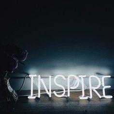 INSPIRE White neon sign  www.signolism.com