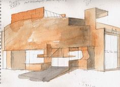 Steven Holl Candy Drawing, Model Sketch, Drawing Sketches, Sketching, Steven Holl, Architecture Drawings, 3d Rendering, Eye Candy, Sketchbook Ideas